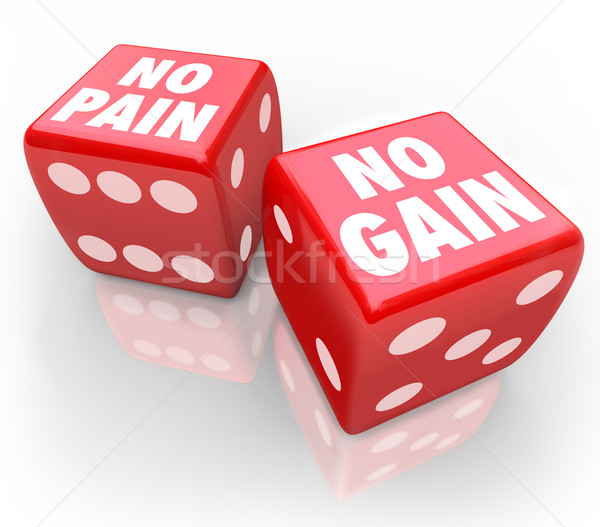 No Pain No Gain Two Red Dice Difficult Challenge Bet Results Stock photo © iqoncept