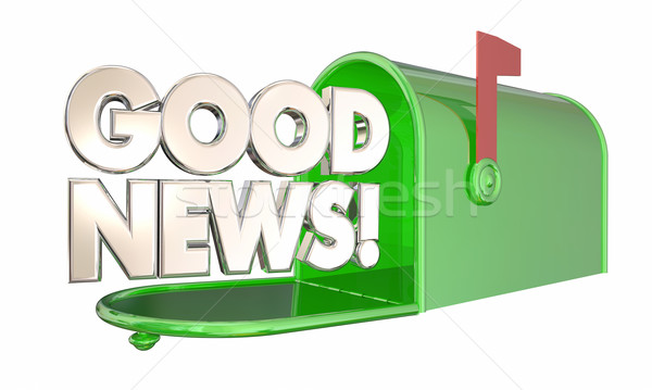 Good News Mailbox Great Information Positive Message 3d Illustra Stock photo © iqoncept