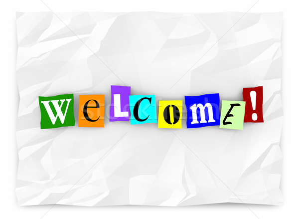 Welcome Greeting Introduction Words Letters 3d Illustration Stock photo © iqoncept