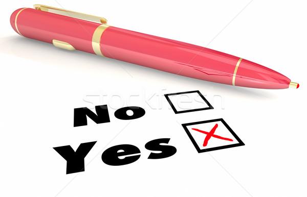 Yes Vs No Answer Choice Pen Check Mark Box 3d Illustration Stock photo © iqoncept