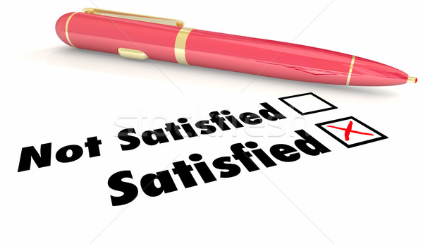 Satisfied Vs Non Satisfaction Check Mark Box Pen 3d Illustration Stock photo © iqoncept