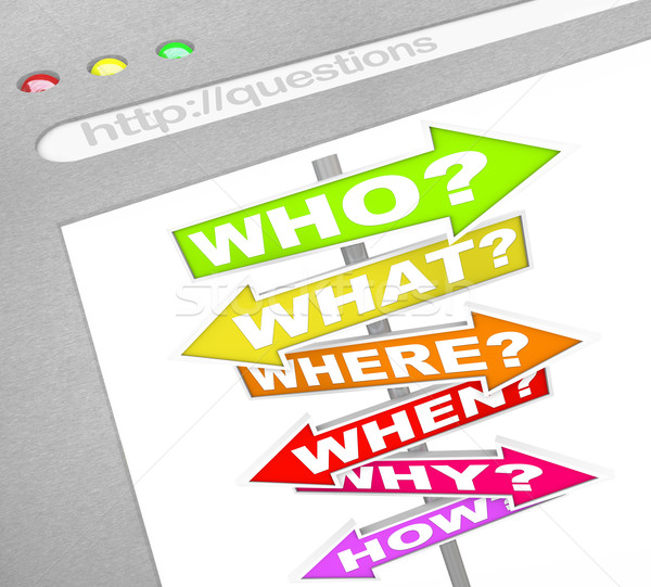 Question SIgns Online - Web Screen Who What Where Stock photo © iqoncept