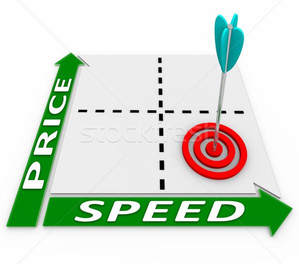 Prijs snelheid matrix pijl target goedkoop Stockfoto © iqoncept