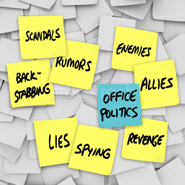 Stock photo: Office Politics Scandal Rumors Lies Gossip - Sticky Notes