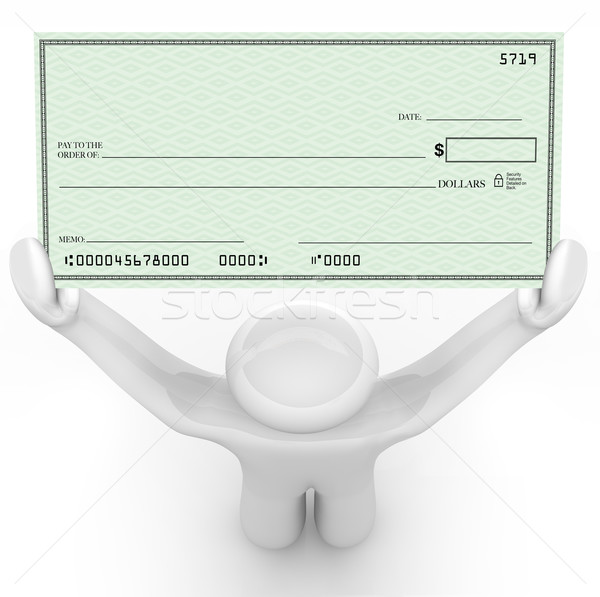 Person Holding Large Blank Check Wealthy Payout Stock photo © iqoncept