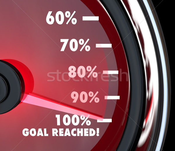 Speedometer Needle Hits 100 Percent Goal Reached Stock photo © iqoncept