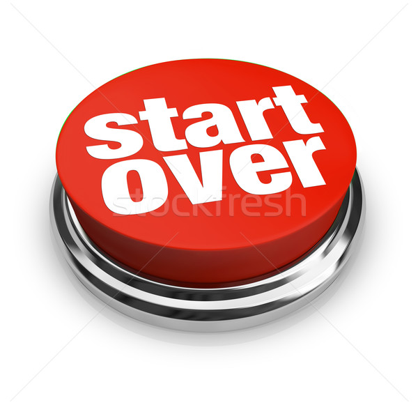 Stock photo: Start Over Renewal Restart Round Red Button