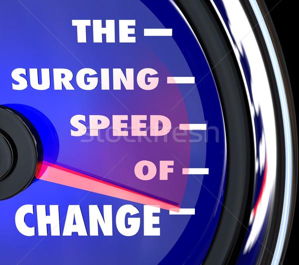 скорости изменений спидометр эволюция слов синий Сток-фото © iqoncept