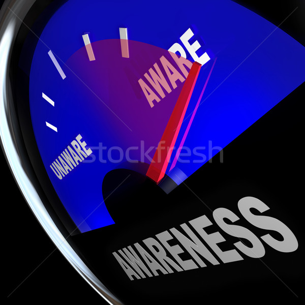 Awarenes Fuel Gauge Aware Rising Improving Knowledge Stock photo © iqoncept
