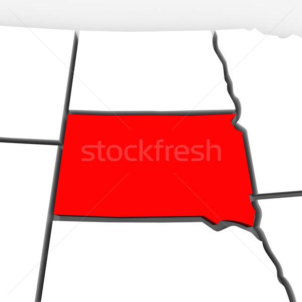 Güney Dakota kırmızı soyut 3D harita Amerika Birleşik Devletleri Stok fotoğraf © iqoncept