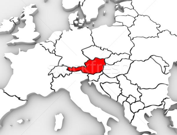 Stock fotó: Ausztria · vidék · absztrakt · 3D · térkép · Európa