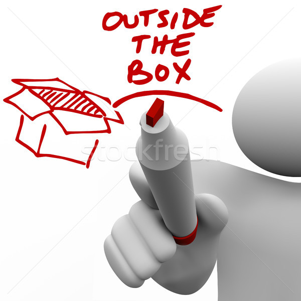 Outside the Box Man Writing Words Marker Stock photo © iqoncept
