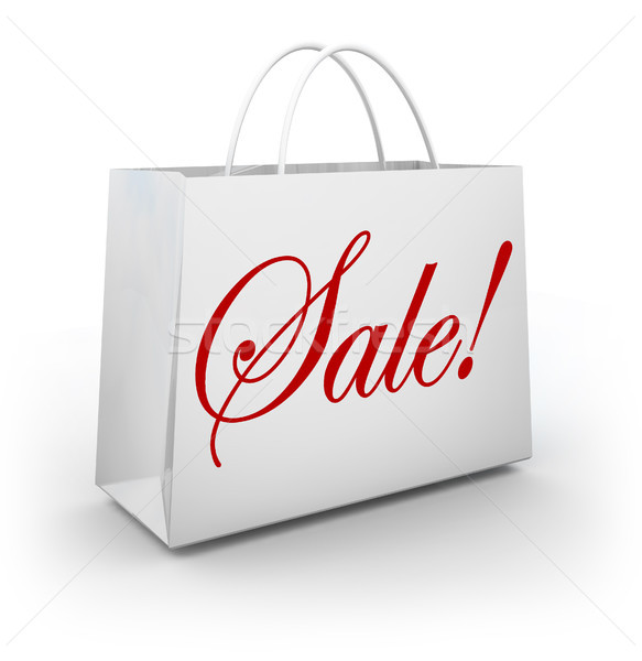 Sale Word White Shopping Bag Customer Store Stock photo © iqoncept