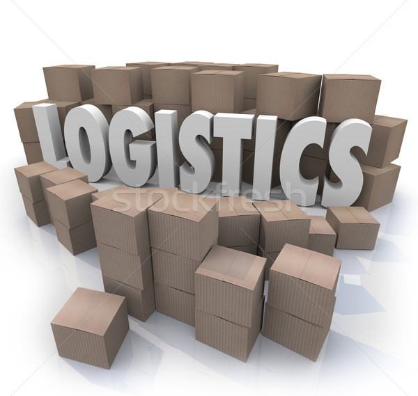 Logistics Word Shipping Boxes Warehouse Efficiency Stock photo © iqoncept