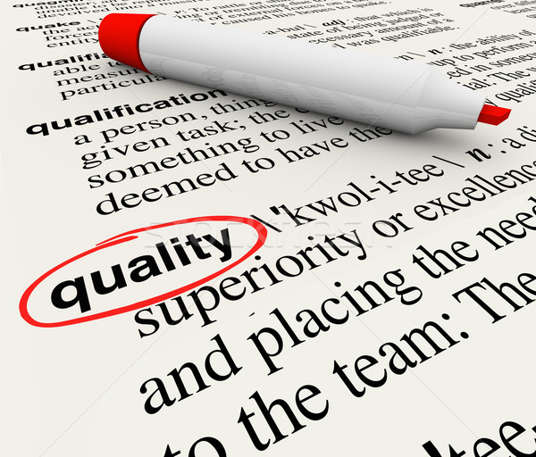 Quality Word Dictionary Definition Circled Marker Pen Stock photo © iqoncept