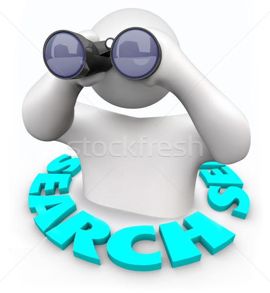 Suche Mann Fernglas Wort helfen Kunden Stock foto © iqoncept