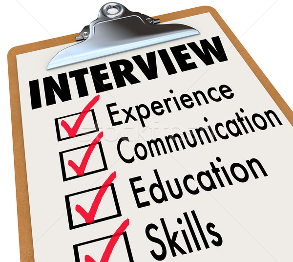 Interview Checklist  Job Candidate Requirements Stock photo © iqoncept