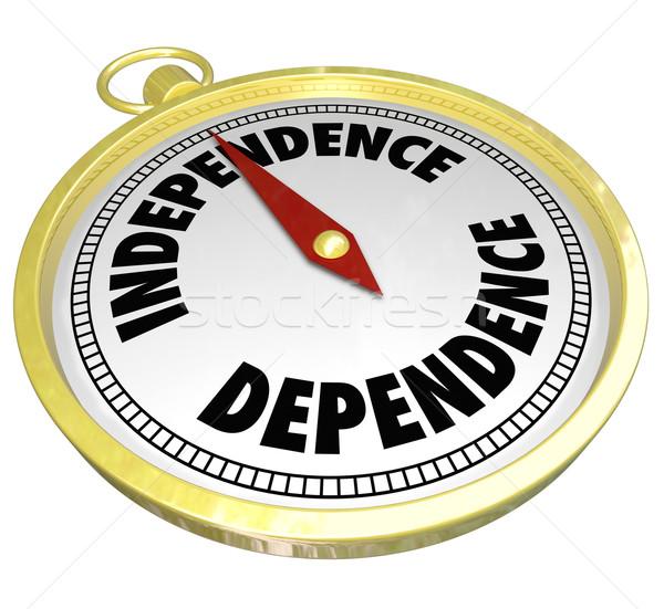 Vs afhankelijkheid kompas wijzend manier richting Stockfoto © iqoncept