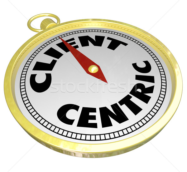Client Centric Words Gold Compass Aiming Please Customers Stock photo © iqoncept