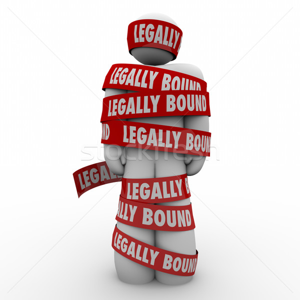 Legally Bound Man Wrapped in Tape Law Clause Prohibited Restrain Stock photo © iqoncept