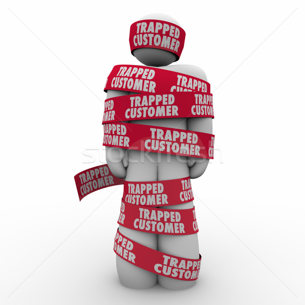 Trapped Customer Person Wrapped Tape Bound Contract Terms Stock photo © iqoncept