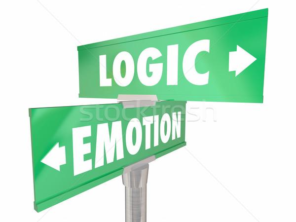 émotion vs logique deux façon panneaux de signalisation routière Photo stock © iqoncept