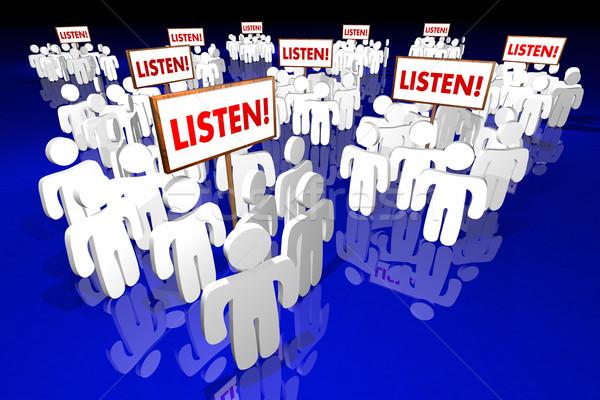 Stockfoto: Luisteren · salaris · aandacht · mensen · borden · publiek