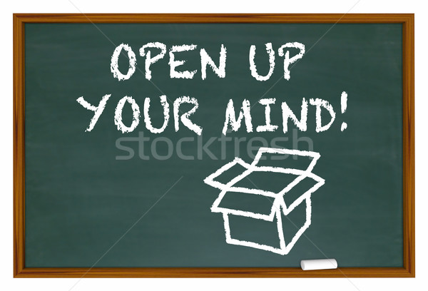 Open Up Your Mind Chalk Board Expand Thinking 3d Illustration Stock photo © iqoncept