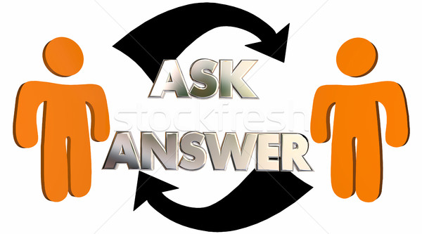 Ask Answer Questions Get Help People Arrows 3d Illustration Stock photo © iqoncept
