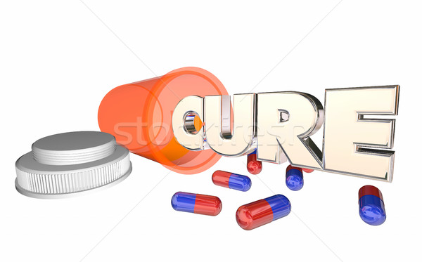 Cure Medicine Pill Bottle Disease Illness Prescription 3d Illust Stock photo © iqoncept