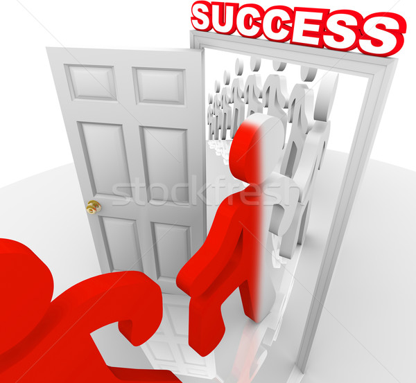 Stock photo: People Walking Through Success Doorway Achieve Goals