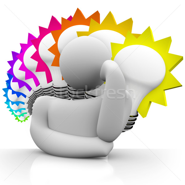 Thinker Colorful Light Bulbs Thinking Man Dreaming Ideas Stock photo © iqoncept