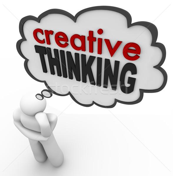創造的思考 人 思考バブル アイデア 単語 ストックフォト © iqoncept