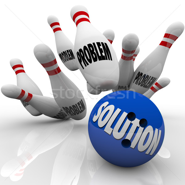 Problem Solution Solved Bowling Ball Pins Stock photo © iqoncept