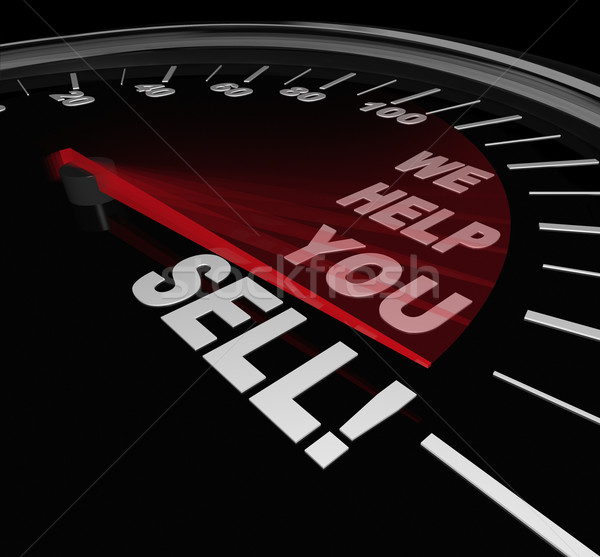 We Help You Sell Speedometer Sales Advice Consultant Service Stock photo © iqoncept