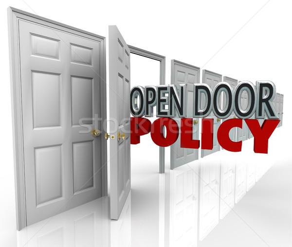 Nyitott ajtó irányvonal szavak vezetőség üdvözlet kommunikáció Stock fotó © iqoncept
