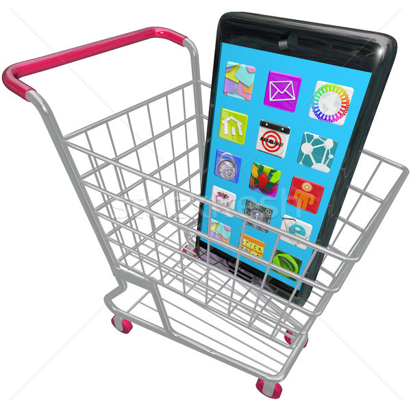 Smart Phone Cellphone Apps Shopping Cart Buying New Telephone Stock photo © iqoncept