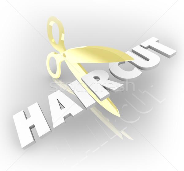 Haircut Word Gold Scissors Cutting Hair Salon Style Stock photo © iqoncept