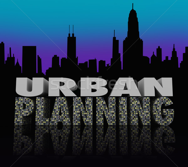 Urban Planning Night City Scape Skyline Words Stock photo © iqoncept