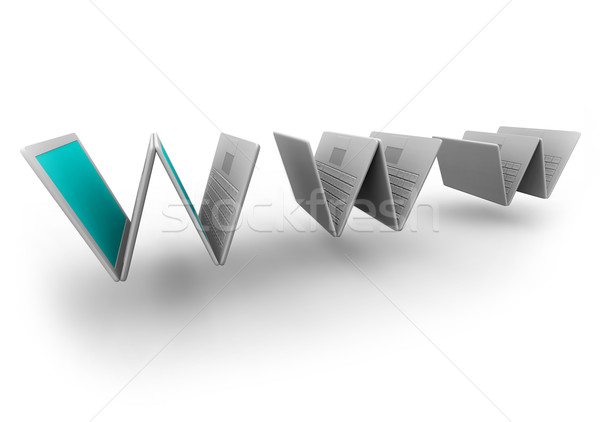 Stock photo: Laptops Compose WWW Symbol