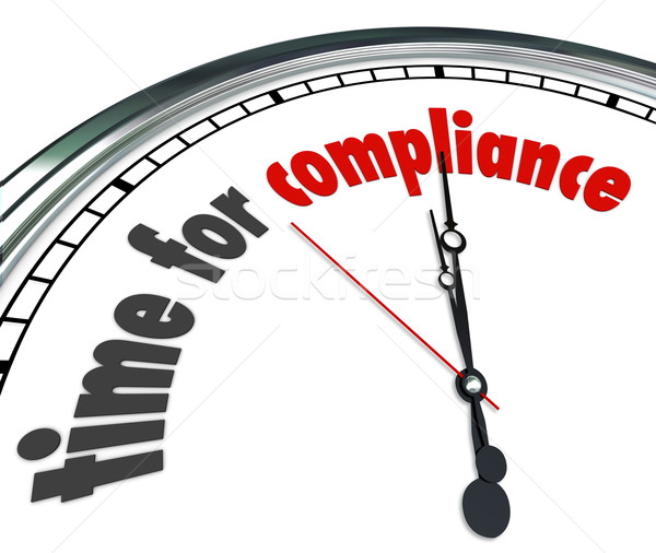 Time for Compliance Words Clock Follow Rules Guidelines Laws Pol Stock photo © iqoncept