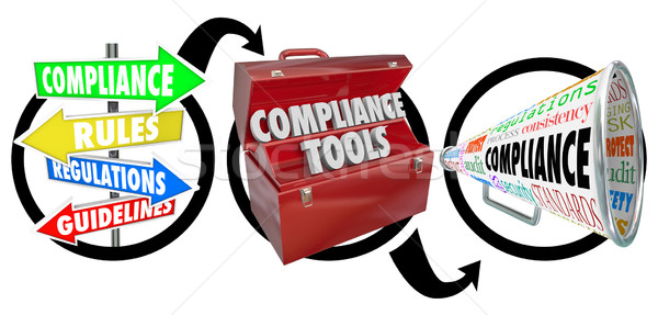 Stock photo: Compliance Three Step Diagram Following Rules Guidelines