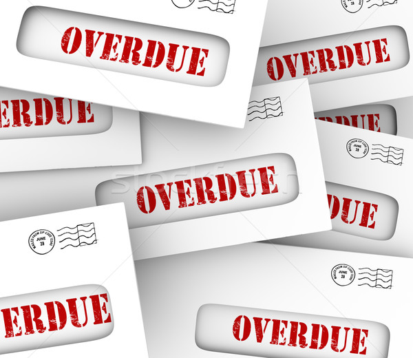 Stock photo: Overdue Bills Pile Envelopes Late Payment Penalty Fees
