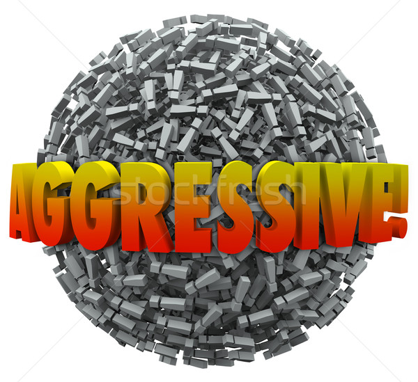 Aggresive 3d Word Exclamation Point Mark Sphere Bold Action Stock photo © iqoncept