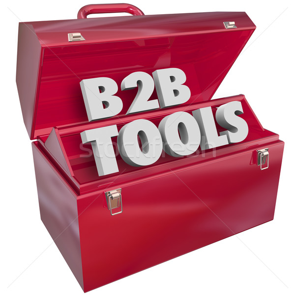 B2b tools Rood toolbox business verkopen Stockfoto © iqoncept