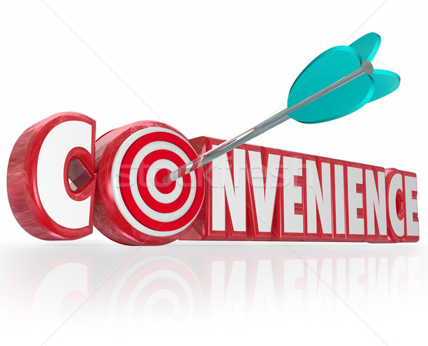 Convenience Word Red 3d Letters Arrow Target Bulls-Eye Stock photo © iqoncept