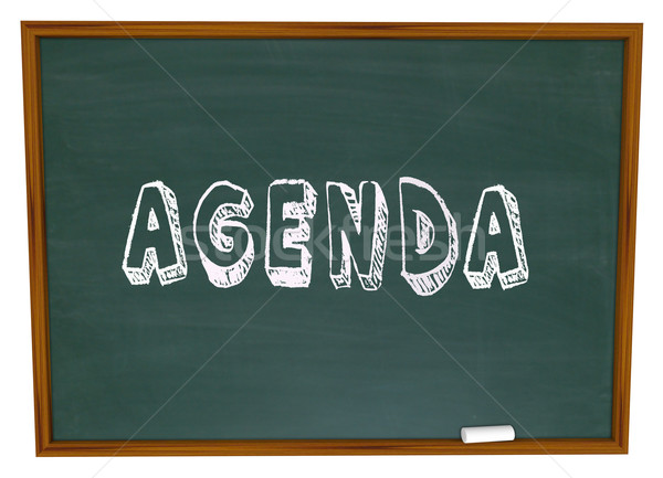 Agenda Schedule Word Chalkboard School Class Lesson Education Stock photo © iqoncept