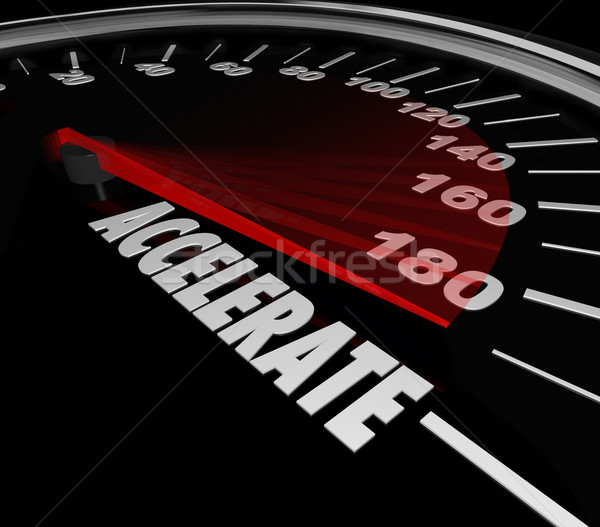 Stock photo: Accelerate Word Speedometer Faster Speed Racing Competition