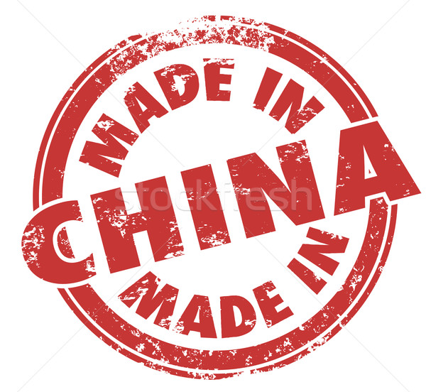 Made in China Round Stamp Product Manfuactured Asia Country Stock photo © iqoncept