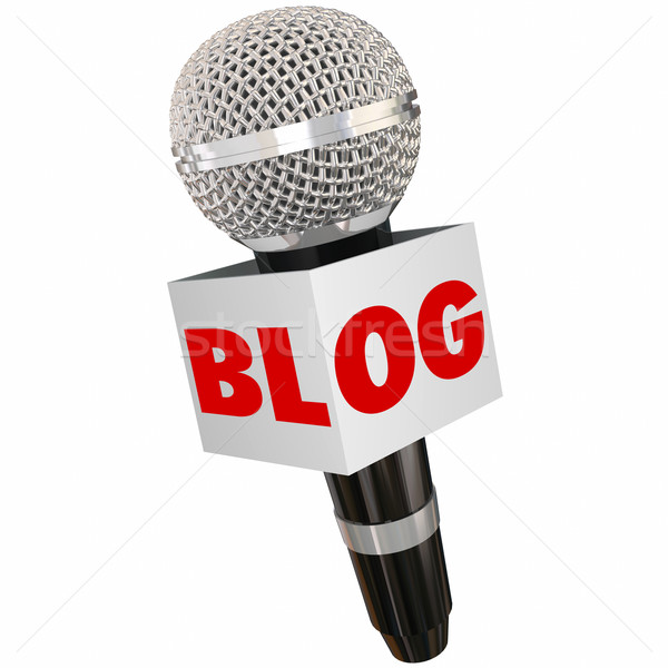 Blog Microphone Box Share Opinion Communication Stock photo © iqoncept